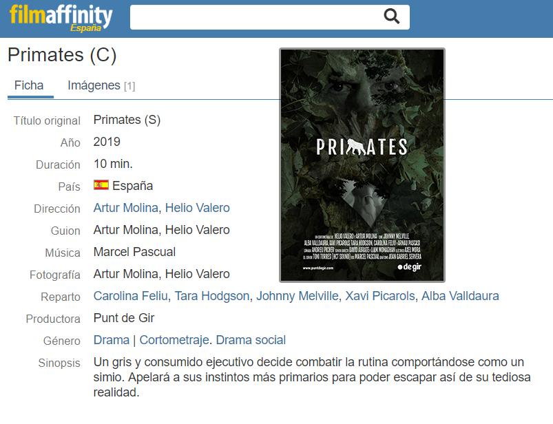 "filmaffinity primates - ¡""Primates"" ya está en FilmAffinity!"